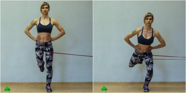 Exercises for the knees: Squats on one leg with resistance