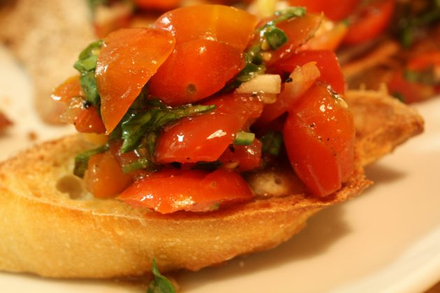 Bruschetta with tomatoes and basil