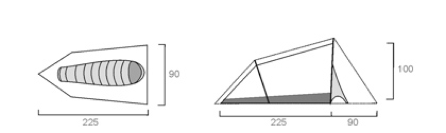 Example of the size of a single tent, cm